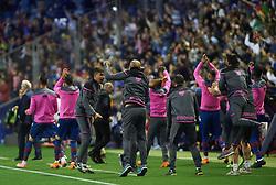 May 13, 2018 - Valencia, Valencia, Spain - Levante UD players celebrates a goal during the La Liga match between Levante and FC Barcelona, at Ciutat de Valencia Stadium, on may 13, 2018  (Credit Image: © Maria Jose Segovia/NurPhoto via ZUMA Press)