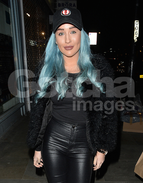 Ex On The Beach stars Helen Briggs leaving former Stereo Kicks singer Jake Sims' record launch at Islington Hall in London, UK. 15/02/2016<br />