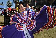 UA Grupo Folklorico Miztontli performs at Hispanic Heritage Day Tailgate Fiesta on the UA Mall during tailgating before a UA football game at the University of Arizona, Tucson, Arizona, USA.