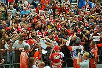 Kimi Raikkonen (FIN) Ferrari signs autographs for the fans in the pit lane.<br /> Italian Grand Prix, Thursday 4th September 2014. Monza Italy.