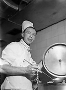"""09/06/1954<br /> 06/09/1954<br /> 09 June 1954<br /> Mr Desmond Cunningham, 2nd Chef at Dublin Airport for """"Liberty""""."""