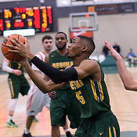 4th year guard Brandon Tull (5) of the Regina Cougars during the 5th year night on February  11 at Centre for Kinesiology, Health and Sport. Credit: Arthur Ward/Arthur Images