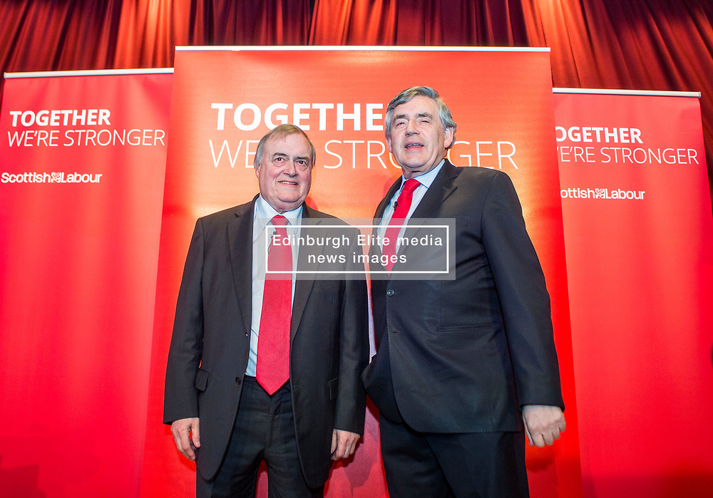 Former Prime Minister Gordon Brown and former Deputy Prime Minister Lord Prescott at a campaign event in Kirkcaldy.<br /> &copy; Dave Johnston/ EEm