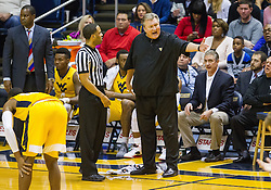 Dec 23, 2016; Morgantown, WV, USA; West Virginia Mountaineers head coach Bob Huggins argues a call during the first half against the Northern Kentucky Norse at WVU Coliseum. Mandatory Credit: Ben Queen-USA TODAY Sports