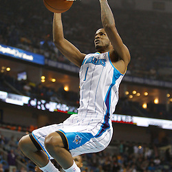 January 24,  2011; New Orleans, LA, USA; New Orleans Hornets small forward Trevor Ariza (1) dunks against the Oklahoma City Thunder during the first quarter at the New Orleans Arena. Mandatory Credit: Derick E. Hingle