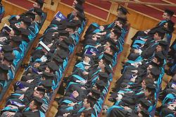 Kingston University Graduation ceremony London Barbican Jan 2005,  Graduates wait to receive their certificates