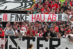 "14.05.2010,  Rhein Energie Stadion, Koeln, GER, 1.FBL, FC Koeln vs Schalke 04, 34. Spieltag, im Bild: Plakat ""Finke hau ab""  EXPA Pictures © 2011, PhotoCredit: EXPA/ nph/  Mueller       ****** out of GER / SWE / CRO  / BEL ******"