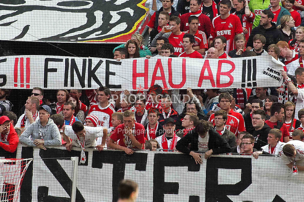 "14.05.2010,  Rhein Energie Stadion, Koeln, GER, 1.FBL, FC Koeln vs Schalke 04, 34. Spieltag, im Bild: Plakat ""Finke hau ab""  EXPA Pictures © 2011, PhotoCredit: EXPA/ nph/  Mueller       ****** out of GER / SWE / CRO  / BEL ******"