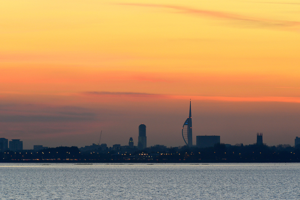 View of Portsmouth over Langstone Harbour, Hampshire