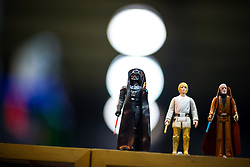 "© Licensed to London News Pictures . 06/12/2015 . Manchester , UK . Star Wars toys for sale . Fans attend Star Wars exhibition "" For the Love of the Force "" at Bowlers Exhibition Centre in Manchester . Photo credit : Joel Goodman/LNP"