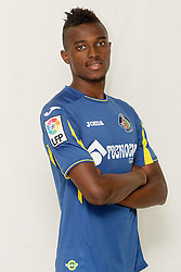 24.07.2015, Coliseum Alfonso Perez, Getafe, ESP, Primera Division, FC Getafe, Spielerpräsentation, im Bild Getafe's new player Bernard Mensah // during Official Player Presentation of Spanish Primera Division club Getafe cf at the Coliseum Alfonso Perez in Getafe, Spain on 2015/07/24. EXPA Pictures © 2015, PhotoCredit: EXPA/ Alterphotos/ Acero<br /> <br /> *****ATTENTION - OUT of ESP, SUI*****