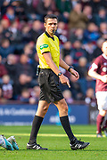 Referee Kevin Clancy during the Ladbrokes Scottish Premiership match between Heart of Midlothian and Rangers FC at Tynecastle Park, Edinburgh, Scotland on 20 October 2019.