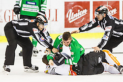 04.02.2017, Hala Tivoli, Ljubljana, SLO, EBEL, HDD Olimpija Ljubljana vs Dornbirner Eishockey Club, Qualifikationsrunde, im Bild Srpcic Zan Luka of HDD Olimpija and Konradsheim Corin of Dornbirn Buldogs // during the Erste Bank Icehockey League Qualification round match between HDD Olimpija Ljubljana and Dornbirner Eishockey Club at the Hala Tivoli in Ljubljana, Slovenia on 2017/02/04. EXPA Pictures &copy; 2017, PhotoCredit: EXPA/ Sportida/ Grega Valancic<br /> <br /> *****ATTENTION - OUT of SLO, FRA*****