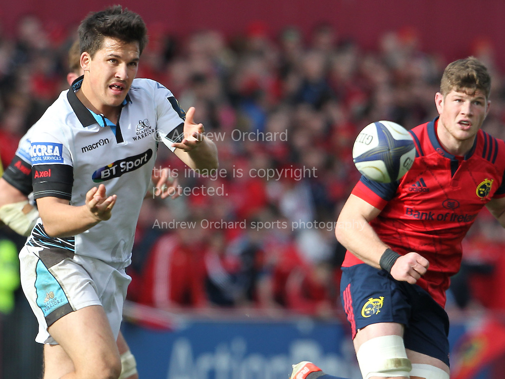 Sam Johnson of Glasgow Warriors in action. European Rugby Champions cup match, pool one, Munster Rugby v Glasgow Warriors at Thomond Park in Limerick , Ireland on Saturday 22nd October 2016.<br /> pic by  John Halas, Andrew Orchard sports photography.
