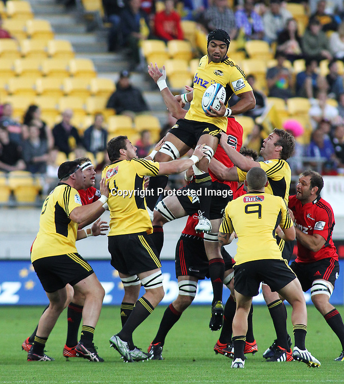 Hurricanes' Victor Vito brings down a high ball during Super Rugby match, Hurricanes V Crusaders at Westpac Stadium, Wellington, Friday 8 March 2013. Photo.: Grant Down / photosport.co.nz