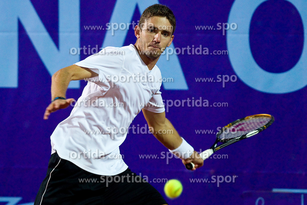 Borut Puc of Slovenia plays against Thomas Muster of Austria during day one of the ATP Challenger  BMW Ljubljana Open 2010, on September 21, 2010,  in TC Ljubljana Siska, Slovenia.  (Photo by Vid Ponikvar / Sportida)