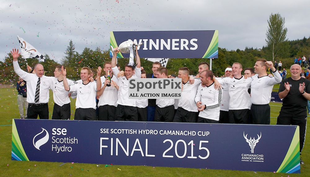 2015 SSE Scottish Hydro Camanachd Cup Final Saturday 19th September at Mossfield Stadium, Oban.... Lovat win the Camanach Cup after beating Kyles Athletic 2-1....(c) STEPHEN LAWSON | SportPix.org.uk