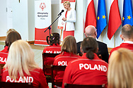 Warsaw, Poland - 2017 March 31: First Lady Agata Kornhauser-Duda speaks while meeting with  Special Olympics athletes at Polish President's Palace on March 31, 2017 in Warsaw, Poland.<br />