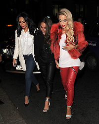 Sarah Jane Crawford, Rita Ora and Chloe Green attend the launch of the 'CJG' collection by Chloe Green at TopShop Oxford Circus in London, UK. 28/03/2014<br />