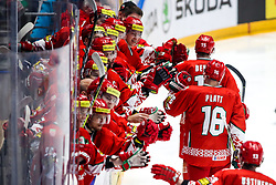 Players of Belarus celebrate during ice hockey match between Belarus and Slovenia at IIHF World Championship DIV. I Group A Kazakhstan 2019, on May 2, 2019 in Barys Arena, Nur-Sultan, Kazakhstan. Photo by Matic Klansek Velej / Sportida