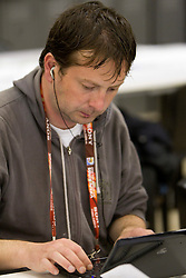Slovenian journalist Borut Planinsic working after the 2010 FIFA World Cup South Africa Group C Third Round match between Slovenia and England on June 23, 2010 at Nelson Mandela Bay Stadium press center, Port Elizabeth, South Africa.  (Photo by Vid Ponikvar / Sportida)