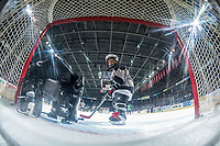 KELOWNA, CANADA - NOVEMBER 25: A mini minor hockey player checks out the net cam on November 25, 2017 at Prospera Place in Kelowna, British Columbia, Canada.  (Photo by Marissa Baecker/Shoot the Breeze)  *** Local Caption ***