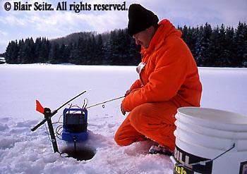 PA landscapes Fishing PA Park Lake, Ice Fishing, Family Ice Fishing on Lake, Hills Creek State Park, PA