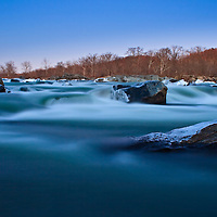 Winter Twilight in Mather Gorge, just above the Great Falls of the Potomac River, Great Falls National Park, Great Falls, Virginia