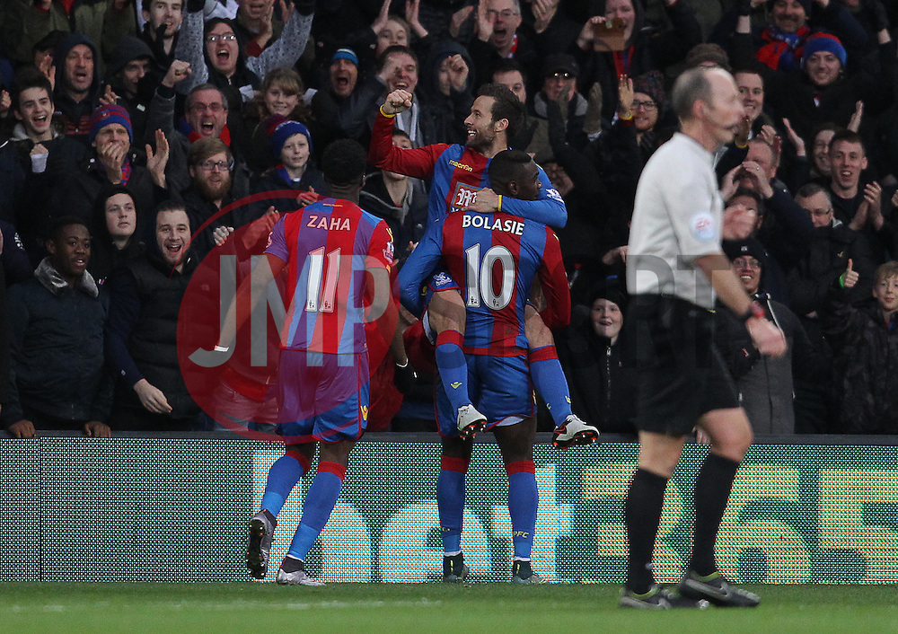 Yohan Cabaye ( C ) of Crystal Palace celebrates after he scores the opening goal of the match - Mandatory byline: Paul Terry/JMP - 12/12/2015 - Football - Selhurst Park - London, England - Crystal Palace v Southampton - Barclays Premier League