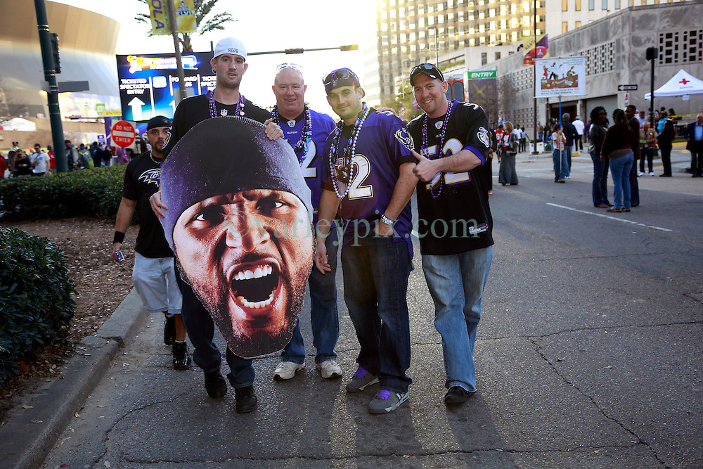 03 Feb 2013. New Orleans, Louisiana USA. .Super Bowl Sunday. Ravens fans head to the Superdome where the city hosts the XLVII (47th) Annual Super Bowl with the Baltimore Ravens against the San Francisco 49'ers. .Photo; Charlie Varley