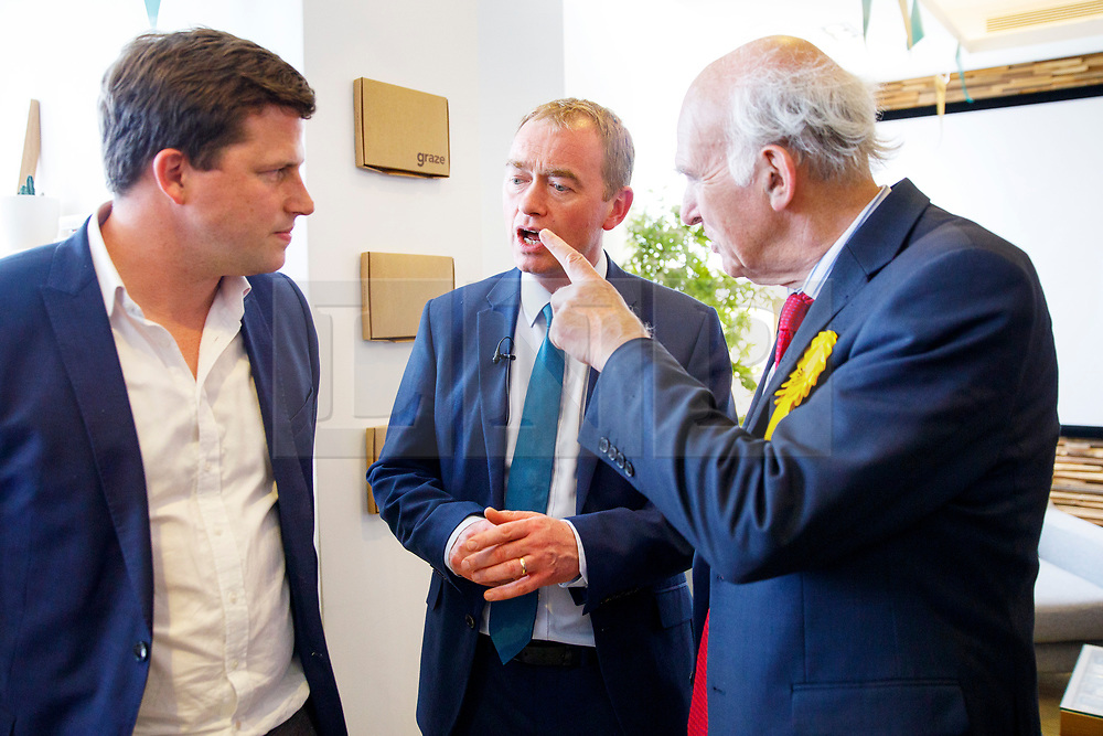 © Licensed to London News Pictures. 22/05/2017. London, UK. Liberal Democrat leader TIM FARRON and Former Business Secretary and candidate for Twickenham VINCE CABLE visit the HQ of Graze, healthy snacks company and meet CEO Anthony Fletcher in Richmond, west London on Monday 22 May 2017. Photo credit: Tolga Akmen/LNP