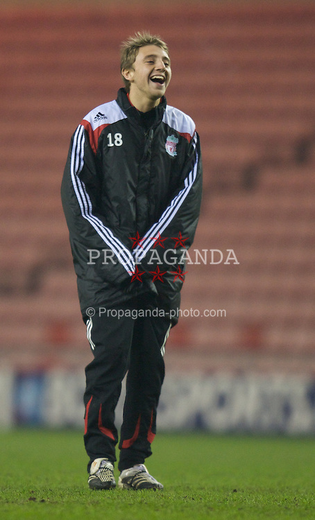 SUNDERLAND, ENGLAND - Wednesday, February 13, 2008: Liverpool's Jack Metcalf warms-up before the FA Youth Cup 5th Round match against Sunderland at the Stadium of Light. (Photo by David Rawcliffe/Propaganda)