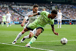 Raheem Sterling of Manchester City is challenged by Daniel Carvajal of Real Madrid - Mandatory byline: Rogan Thomson/JMP - 04/05/2016 - FOOTBALL - Santiago Bernabeu Stadium - Madrid, Spain - Real Madrid v Manchester City - UEFA Champions League Semi Finals: Second Leg.