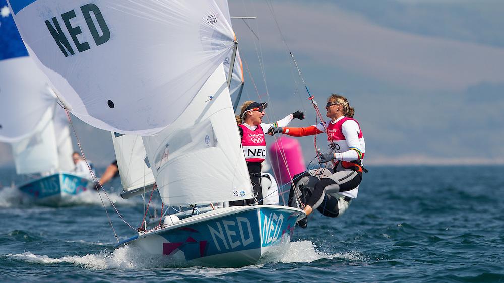ENGLAND, Weymouth. 10th August 2012. Olympic Games. Women's 470 class. Medal Race. Lisa Westerhof (NED) Skipper, Lobke Berkhout (NED) Crew, winners of the Bronze Medal.