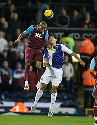 BLACKBURN, ENGLAND - Sunday, December 9, 2007: Blackburn Rovers' Roque Santa Cruz and West Ham United's Danny Gabbidon during the Premiership match at Ewood Park. (Photo by David Rawcliffe/Propaganda)