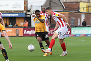 Jevani Brown and Sam Jones  during the EFL Sky Bet League 2 match between Cambridge United and Cheltenham Town at the Cambs Glass Stadium, Cambridge, England on 25 August 2018.