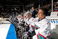 KELOWNA, CANADA - JANUARY 22: Tate Coughlin #18 and Calvin Thurkauf #27 of Kelowna Rockets share a laugh on the bench against the Tri City Americans on January 22, 2016 at Prospera Place in Kelowna, British Columbia, Canada.  (Photo by Marissa Baecker/Shoot the Breeze)  *** Local Caption *** Tate Coughlin; Calvin Thurkauf;
