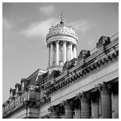 Black and white photograph of The Gallery of Modern Art in Royal Exchange Square, Glasgow. Mounted print available to purchase.