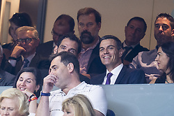 September 17, 2018 - Madrid, Spain - Spain basketball federation president, Jorge Garbajosa and Spain president, Pedro Sanchez during the FIBA Basketball World Cup Qualifier match Spain against Latvia at Wizink Center in Madrid, Spain. September 17, 2018. (Credit Image: © Coolmedia/NurPhoto/ZUMA Press)