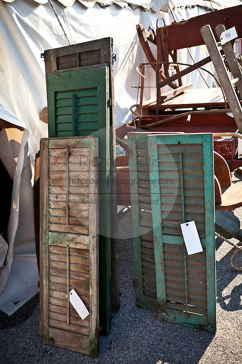 Old shutters at auction during the Annual Mud Sale to support the Fire Department  in Gordonville, PA.