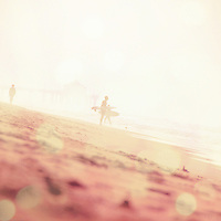 surfer on a hazy morning in California USA