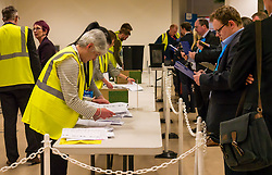 Pictured: Leith Walk Council By-Election. Edinburgh City Council, Edinburgh, Scotland, 11 April 2019. Pictured: The count begins. 25,526 residents are registered to vote in one of the most densely populated areas in Scotland under the Single Transferable Vote (STV) system. This is the first time in Scotland that an STV by-election has been needed to fill two vacancies in the same ward, held as a result of the resignation of Councillor Marion Donaldson. The election fielded 11 candidates, including the first ever candidate for the For Britain Movement in Scotland, Paul Stirling, founded by former UKIP leadership candidate Anne Marie Waters in March 2018.<br /> <br /> Sally Anderson   EdinburghElitemedia.co.uk