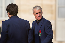 France's national trainer Didier Deschamps leaves after receiving the Legion of Honour during a ceremony to award French 2018 football World Cup winners, on June 4, 2019, at the Elysee Palace in Paris. Photo by Raphael Lafargue/ABACAPRESS.COM