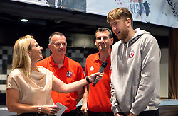 Michael Vigor of Bristol Flyers is interviewed by Lisa Knights at the sponsors event - Mandatory by-line: Robbie Stephenson/JMP - 12/09/2016 - BASKETBALL - Ashton Gate Stadium - Bristol, England - Bristol Flyers Sponsors Event