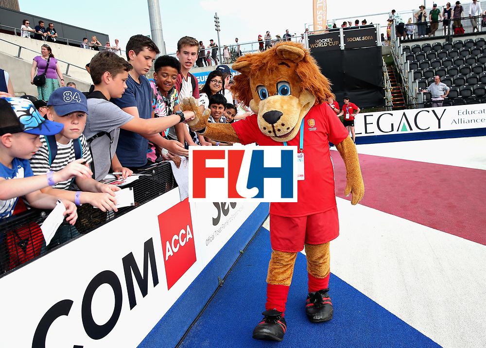 LONDON, ENGLAND - JUNE 18:  England Hockey mascot Jasper with fans after the Hero Hockey World League Semi Final match between England and Argentina at Lee Valley Hockey and Tennis Centre on June 18, 2017 in London, England.  (Photo by Alex Morton/Getty Images)