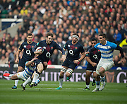 Twickenham, United Kingdom. Elliot DALY, on a run before his red card at the during the Old Mutual Wealth Series Rest Match: England vs Argentina, at the RFU Stadium, Twickenham, England, <br />