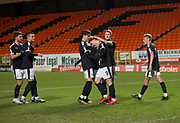 Cedwyn Scott of Dundee is congratulated after scoring by Jesse Curran and Jordan Piggott  - Dundee United v Dundee, SPFL Under 20 Development League at Tannadice Park, Dundee<br /> <br />  - &copy; David Young - www.davidyoungphoto.co.uk - email: davidyoungphoto@gmail.com