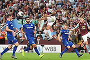 Aston Villa defender Tyrone Mings (40) heads the ball  across the box during the Premier League match between Aston Villa and Everton at Villa Park, Birmingham, England on 23 August 2019.