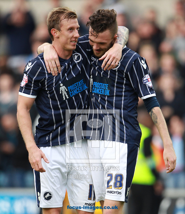 Picture by John Rainford/Focus Images Ltd +44 7506 538356<br /> 28/09/2013<br /> Goalscorers Martyn Woolford and Scott Malone of Millwall after the Sky Bet Championship match at The Den, London.