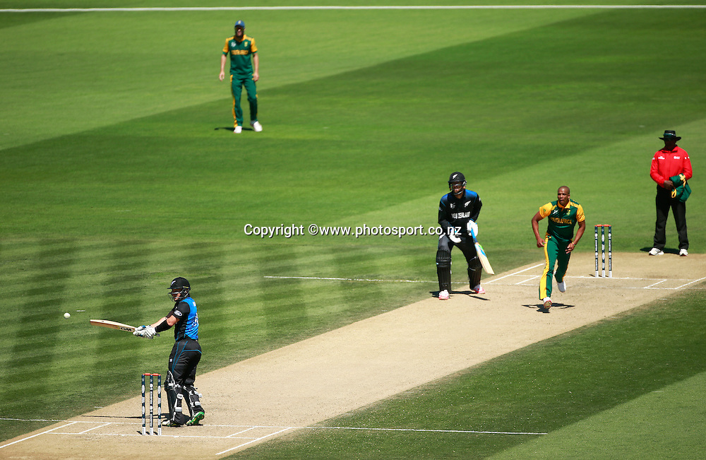 Nathan McCullum of New Zealand batting off the bowling of Vernon Philander of South Africa during the ICC Cricket World Cup warm up game between New Zealand v South Africa at Hagley Oval, Christchurch. 11 February 2015 Photo: Joseph Johnson / www.photosport.co.nz